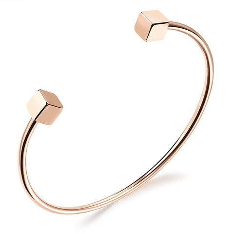 Plating RoseGold square square bracelet female contracted openings