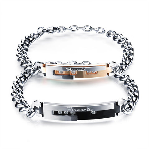 Titanium steel engraving English lovers bracelet set auger RoseGold plating black valentine's day gifts-Color RoseGold