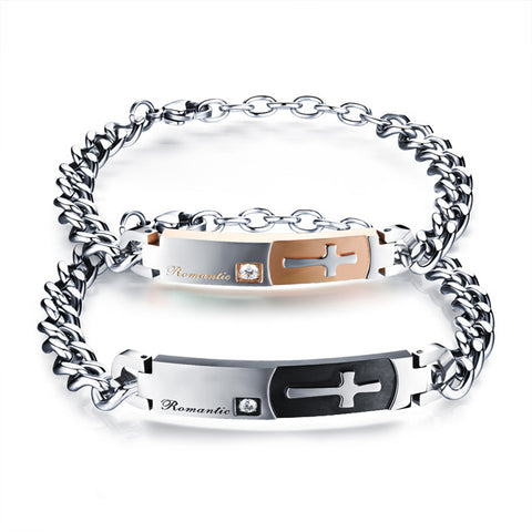 Titanium steel couple bracelet do not fade Retro classic cross bracelet Han edition valentine's day gifts-Style Men