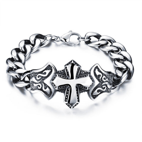 Han edition individuality tide male act the role ofing swagger hand ring Men's titanium steel cross bracelet