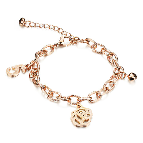 Korean Flower Pendant Bracelet rose gold plating titanium bracelet female anti allergy accessories