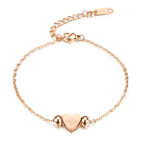 The temperament of exquisite Love love fashion generous Lady Rose Gold Titanium Bracelet
