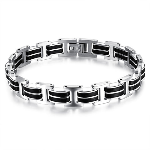 Classic men adjustable contracted the titanium steel bracelet with a birthday present