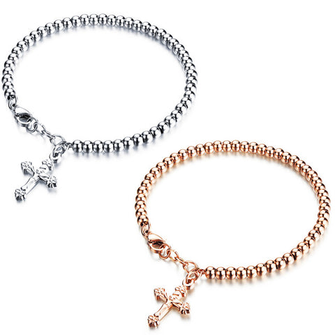 Summer new temperament ms bracelet with the cross Delicate joker Korea accessories-Color RoseGold