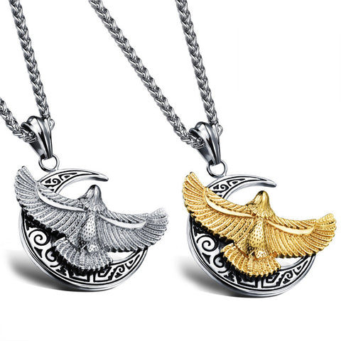 The bright moon eagle men's pendant Mirs tags Titanium steel personality necklace Orchid chain-Color Gold