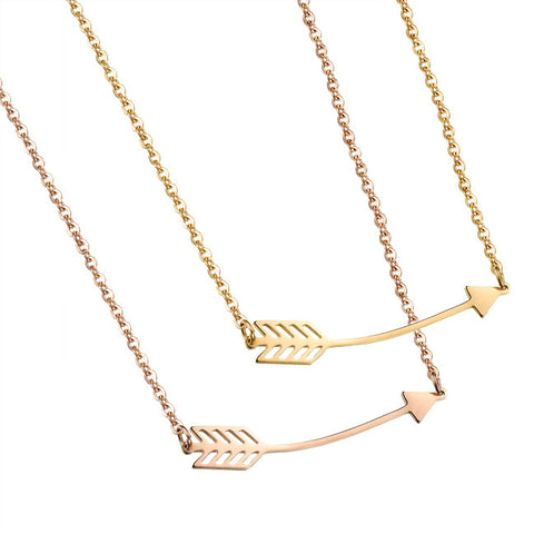 The arrow clavicle pendant Ms titanium steel RoseGold plated jewelry arrow through a heart necklace-Color Gold