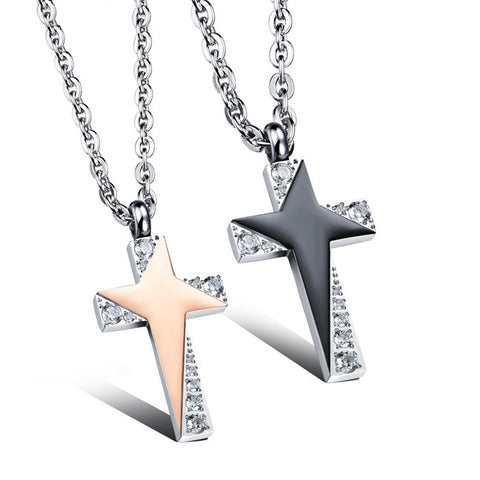 Han edition plating color preserving act the role ofing is tasted The stars twinkle cross lovers necklace gift personality-Style Men