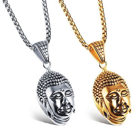 Titanium steel Buddha Buddha great day domineering man necklace transport safety in titanium steel jewelry-Color Gold