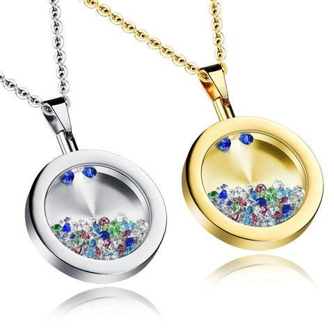 Opened new diamond crystal Han edition clavicle short chain Wishing bottle pendant jewelry-Color Gold