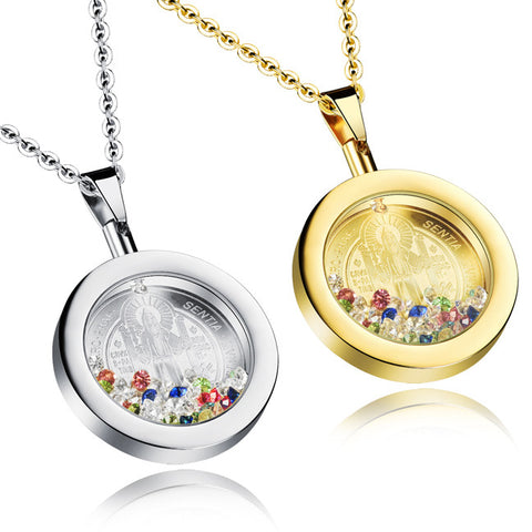 Religious act the role ofing is tasted Colorful bottle decoration brief paragraph crystal pendant necklace Deserve to act the role of female widgets-Color Gold
