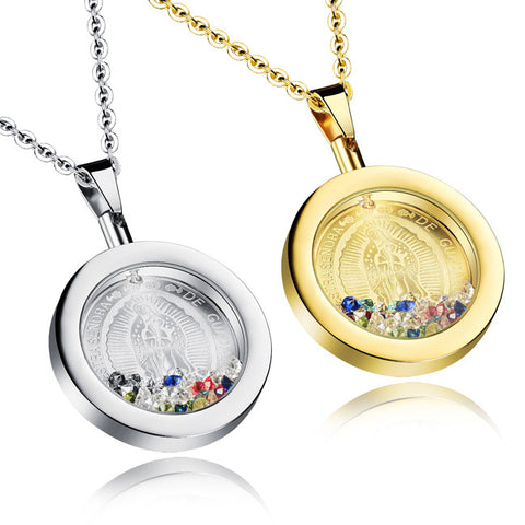 The virgin Mary colorful circular ms clavicle necklace gift-Color Ecru