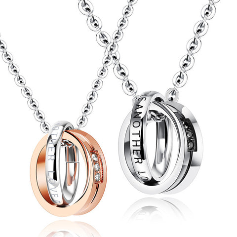 Dunhuang double loop set auger personality contains titanium steel couples necklaces distribution chain-Color RoseGold