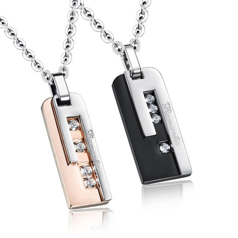 Tmall titanium steel square card set auger deserve to act the role of anti allergic lovers necklace-Color RoseGold