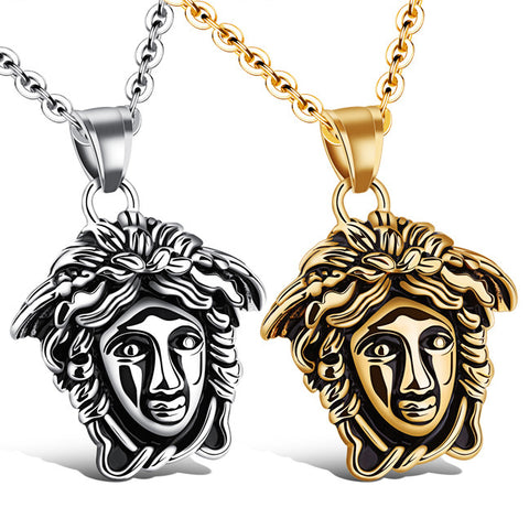 Creative goddess pendant Retro men's stainless steel necklace distribution chain-Color Ecru