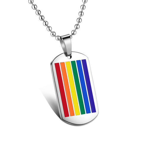 6-color glue export jewelry color titanium steel pendant Rainbow comrade necklace