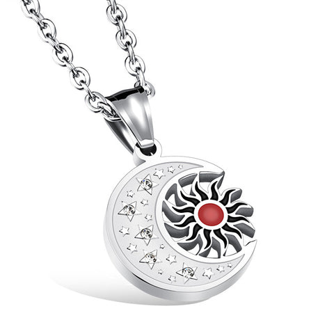 Restoring ancient ways the helios series The sun and the moon diamond man necklace titanium steel