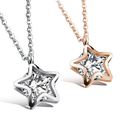 The star diamond necklace Han edition of titanium steel star pendant female clavicle chain-Color RoseGold
