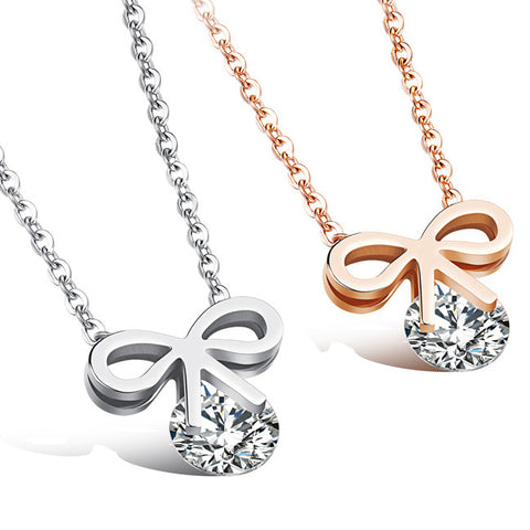 Han edition style sweet bowknot necklace female gift set auger temperament clavicle short chain-Color Ecru