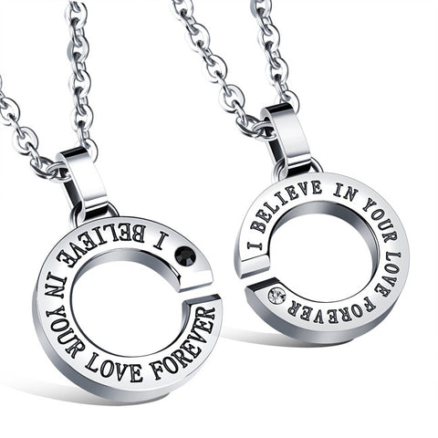 Titanium steel circular couple necklace Contracted joker XueShengChao men's and women's accessories-Style Women