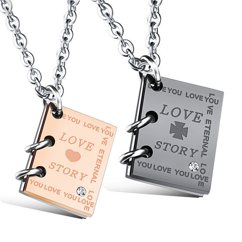 Creative love story book titanium steel couple necklace Men and women friends a gift-Color Gold