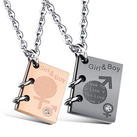 Restoring ancient ways ideas set auger titanium steel couple pendant that open books Boys and girls necklace-Color Black