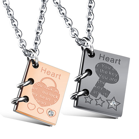 Simple key lock stainless steel couple necklace set auger male and female students books-Color Gold
