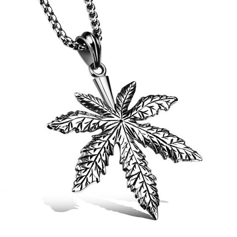 Cool personality casting necklace Stainless steel small hemp huwg leaf pendant restoring ancient ways Deserve to act the role of market