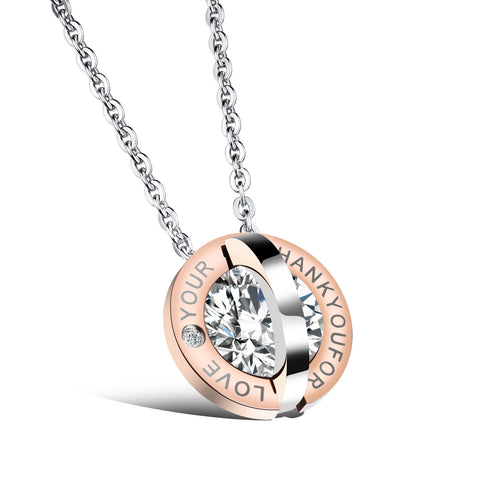 Round diamonds Love titanium necklace fine jewelry lovers