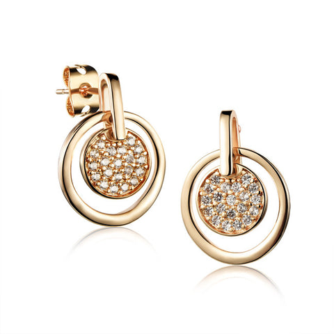 Ms zircon earrings Microscope earrings 18K gold plating circle pendant earrings girlfriend accessories