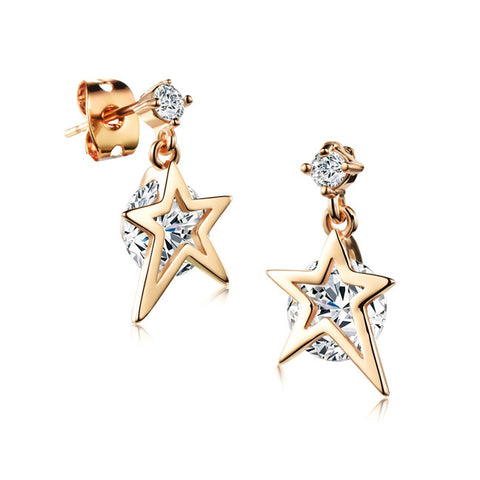 Ms zircon earrings Microscope earring plating 18K star clip drill pendant earrings girlfriend accessories