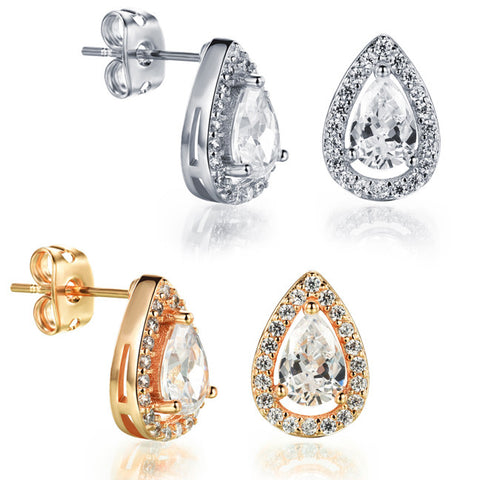 Ms AAA zircon earrings plating 18K princess tears yao-wei plated earring-Color Silver