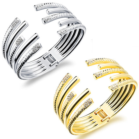Jewelry delicate set auger length line differential symmetrical lady bracelet open-Color Ecru