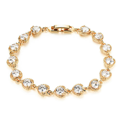Ms heart-shaped diamond zircon bracelet plating 18K modification with jewelry fashion accessories