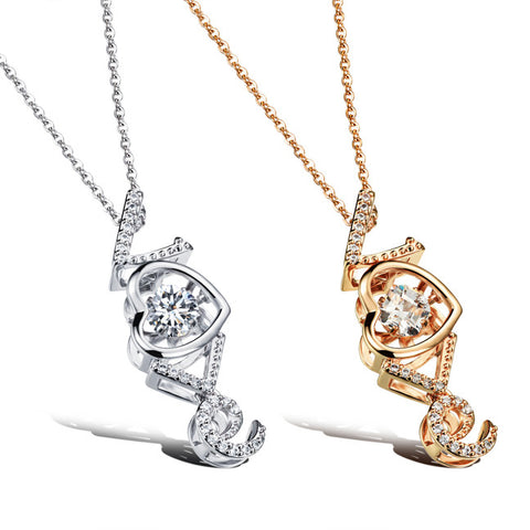 LOVE theme zircon pendant Love dangling microscope female necklace electroplating champagne gold ornaments-Color Platinum