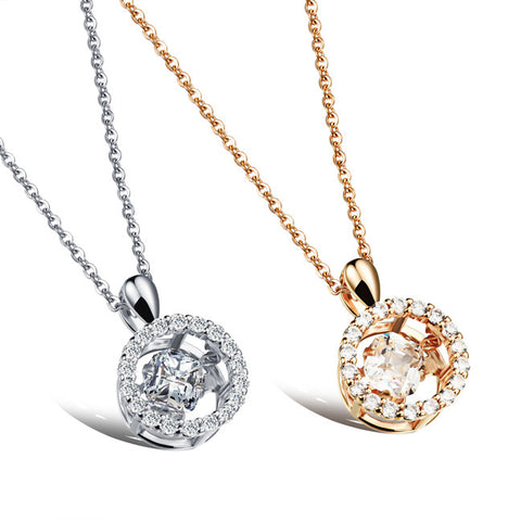 Platinum plating zircon pendant Three-dimensional dangling microscope female necklace Champagne gold plated-Color Platinum