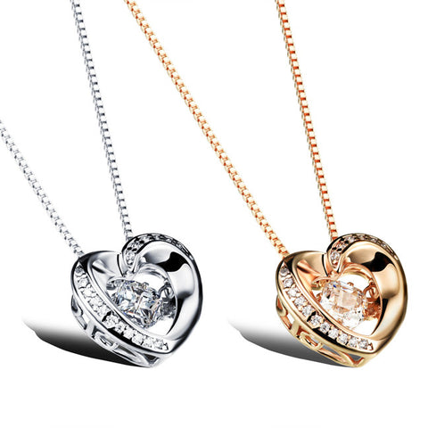 Plating Bai Jinai core pendant Three-dimensional dangling female necklace Champagne gold plated-Color Gold