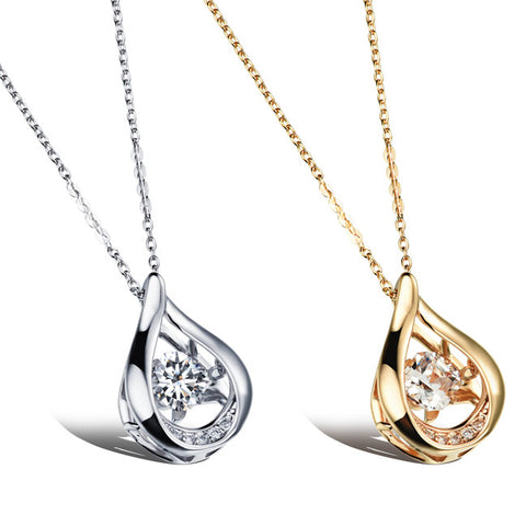 Platinum plating teardrop-shaped micro pendant Three-dimensional dangling female necklace Champagne gold plated-Color Gold
