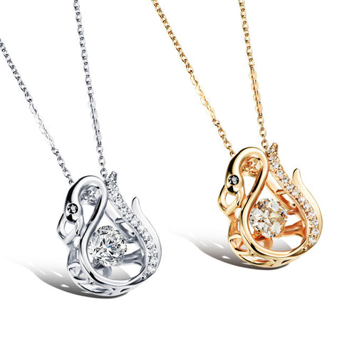 Champagne ling snake microscope pendant plating Three-dimensional dangling female necklace Champagne gold plated-Color Platinum