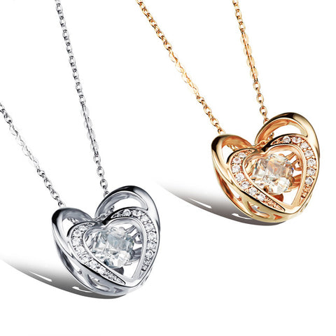Plating Bai Jinshuang love Beijing pendant Three-dimensional hollow out female necklace champagne gold-Color Platinum