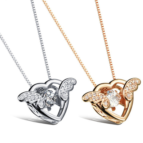 Champagne love angel wings microscope pendant plating Female necklace platinum plated dangling design-Color Gold