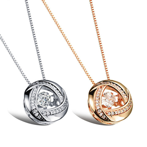 Champagne around the nest type microscope pendant plating Suspension dynamic zircon design necklace platinum plated-Color Platinum