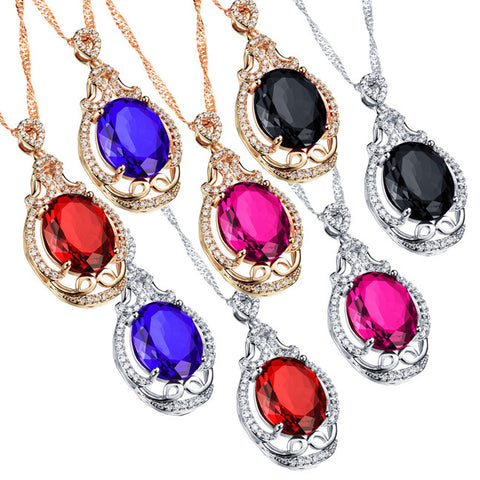 Bai Jincai plated diamond pendant Ms micro set big zircon champagne gold plated necklace 18K deserve to act the role-Color Red