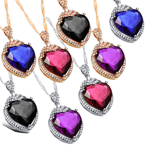 Bai Jincai plated diamond pendant Ms love heart shape micro set big zircon necklace 18K champagne gold plating-Color Purple
