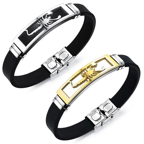Fashion first act the role ofing is tasted Titanium steel gold scorpion men leather bracelet Tide male character deserve to act the role of P-Color Gold