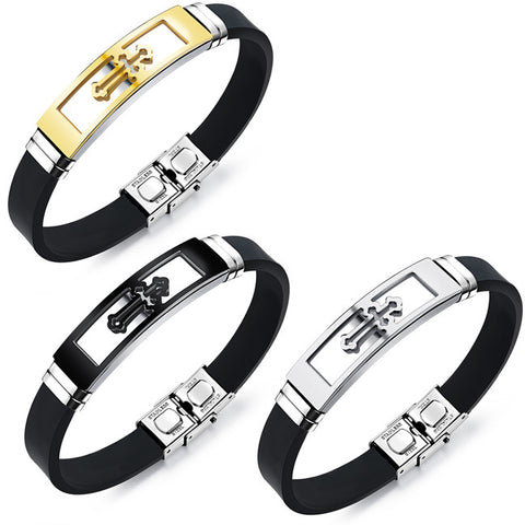 Stainless steel plating gold cross man silicone bracelet-Color Black