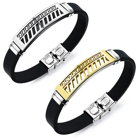 Stainless steel plating golden Great Wall lines silicone bracelet gift-Color Ecru