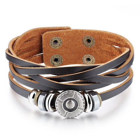 The new jewelry Restoring ancient ways is woven bracelet Double buckle leather bracelet