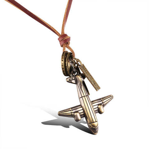 Han edition retro small plane leather cord long necklace Joker casual long sweater chain Joker clothing