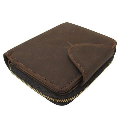 Man's short crazy horse leather wallet with zipper and buckle