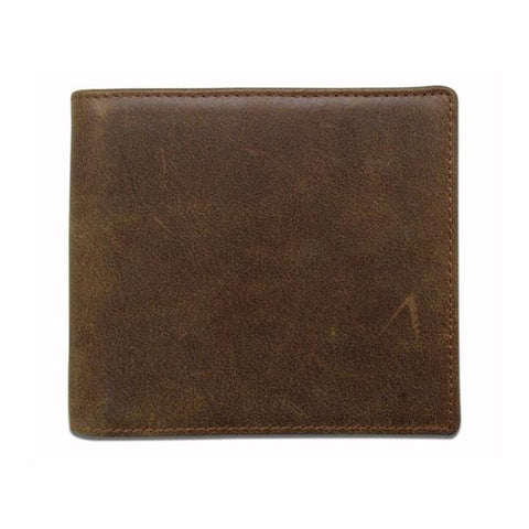 Man's retro short crazy horse leather wallet